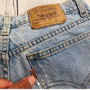 Vintage orange tab Levi's denim shorts light wash